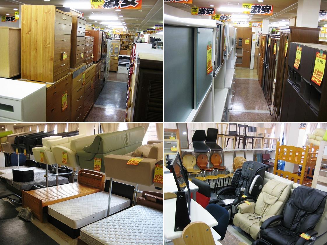 リサイクルショップの家具(ベット、ソファー、タンス、食器棚、テーブル、ボード)
